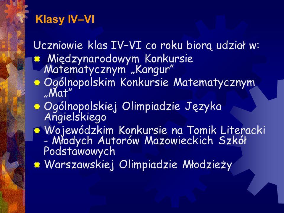 """Klasy IV–VI Uczniowie klas IV–VI co roku biorą udział w:  Międzynarodowym Konkursie Matematycznym """"Kangur""""  Ogólnopolskim Konkursie Matematycznym """"M"""
