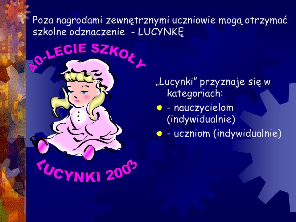 """Poza nagrodami zewnętrznymi uczniowie mogą otrzymać szkolne odznaczenie - LUCYNKĘ """" Lucynki"""" przyznaje się w kategoriach:  - nauczycielom (indywidual"""