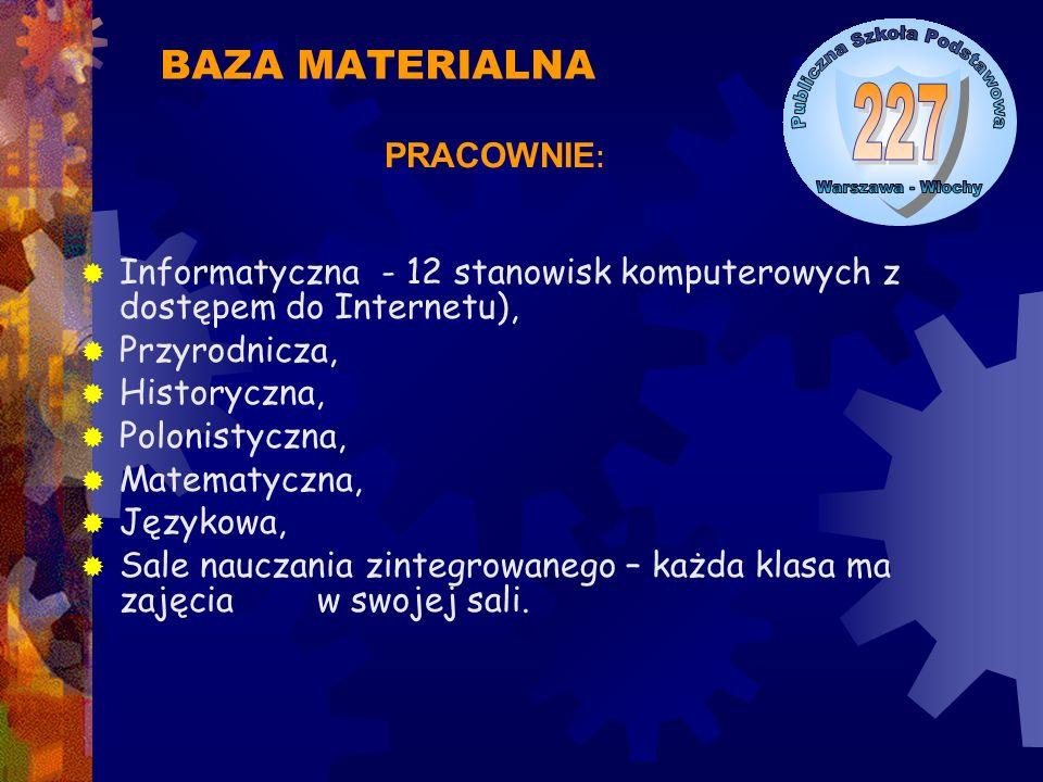  Informatyczna - 12 stanowisk komputerowych z dostępem do Internetu),  Przyrodnicza,  Historyczna,  Polonistyczna,  Matematyczna,  Językowa,  S