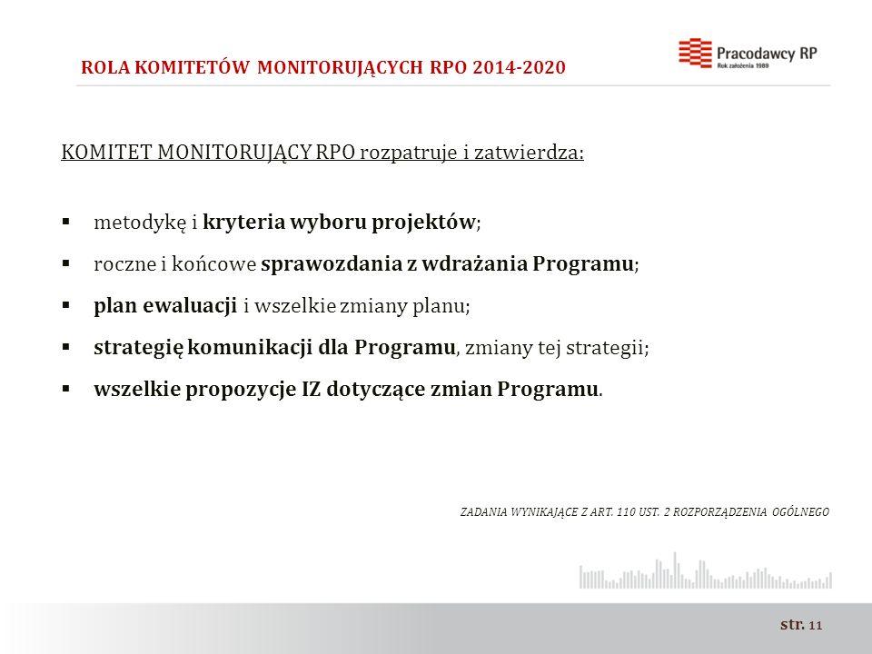 str. 11 ROLA KOMITETÓW MONITORUJĄCYCH RPO 2014-2020 KOMITET MONITORUJĄCY RPO rozpatruje i zatwierdza:  metodykę i kryteria wyboru projektów;  roczne