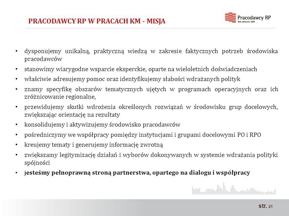 str. 21 dysponujemy unikalną, praktyczną wiedzą w zakresie faktycznych potrzeb środowiska pracodawców stanowimy wiarygodne wsparcie eksperckie, oparte