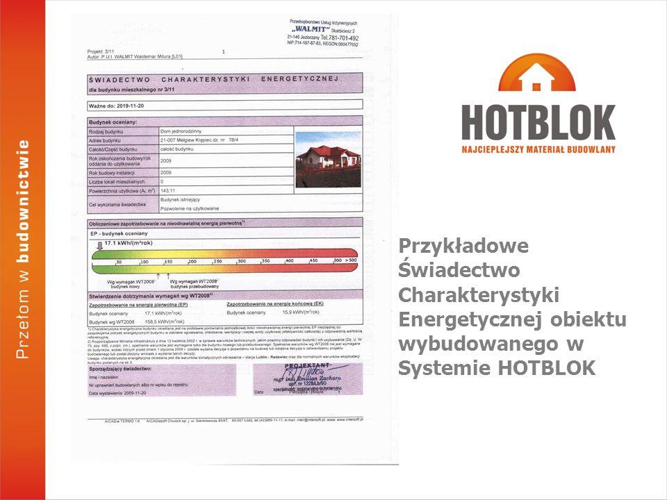 Przykładowe Świadectwo Charakterystyki Energetycznej obiektu wybudowanego w Systemie HOTBLOK