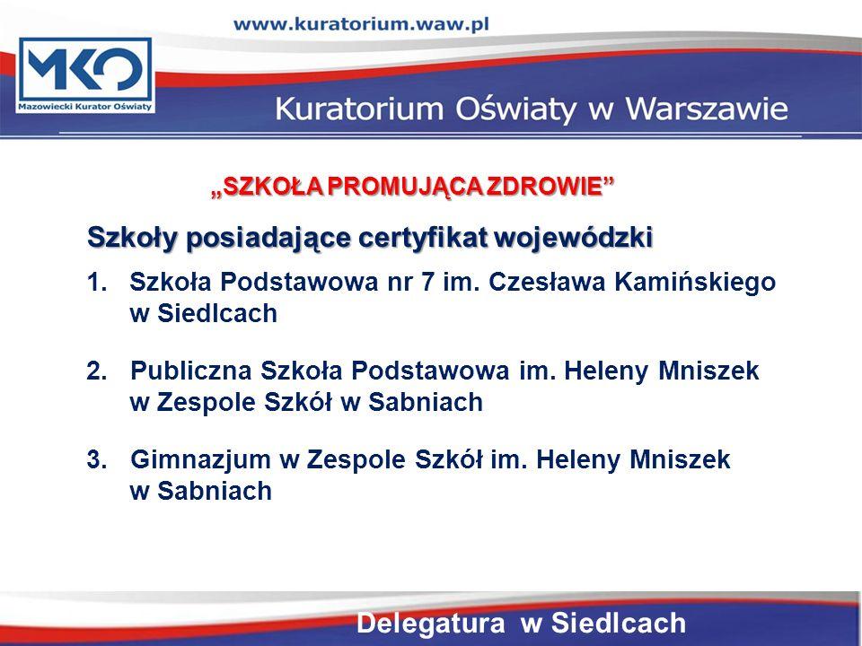 Szkoły posiadające certyfikat wojewódzki 1.Szkoła Podstawowa nr 7 im.