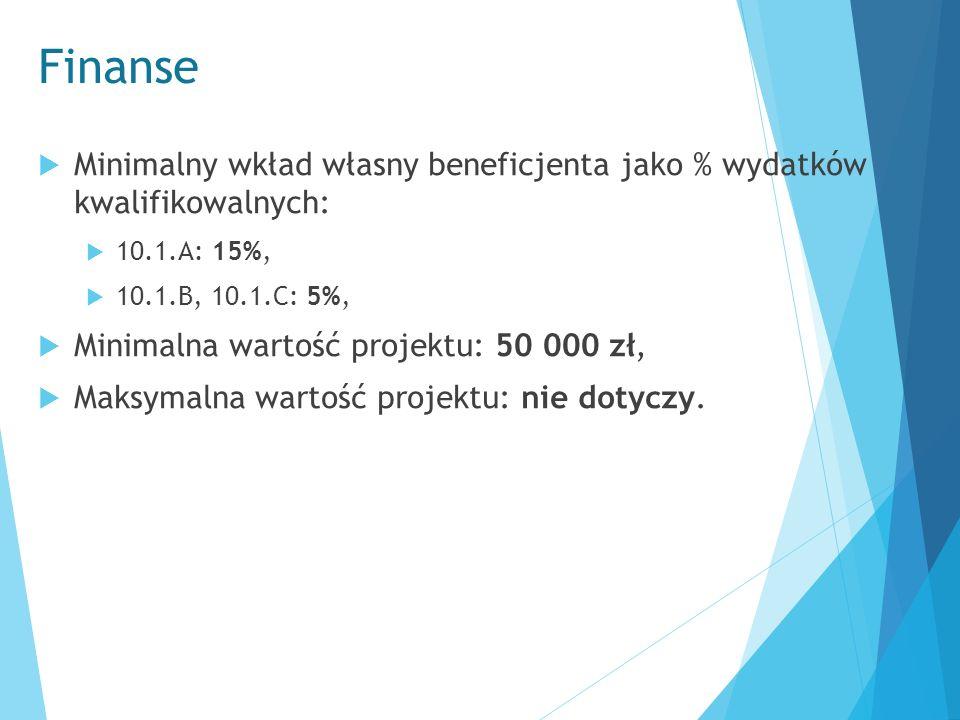Finanse  Minimalny wkład własny beneficjenta jako % wydatków kwalifikowalnych:  10.1.A: 15%,  10.1.B, 10.1.C: 5%,  Minimalna wartość projektu: 50