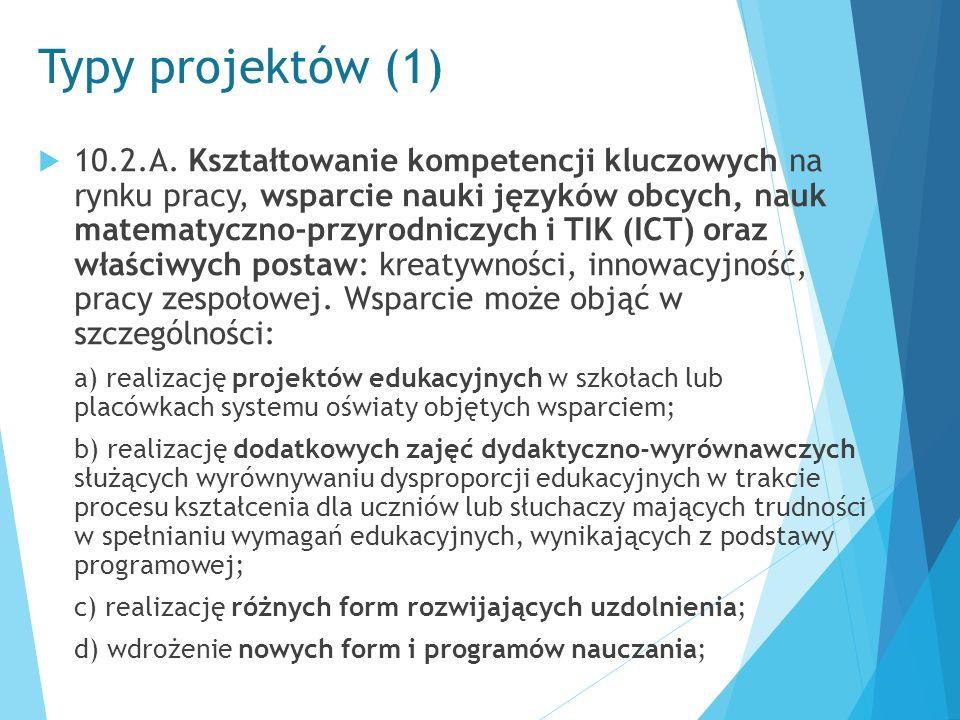 Typy projektów (1)  10.2.A. Kształtowanie kompetencji kluczowych na rynku pracy, wsparcie nauki języków obcych, nauk matematyczno-przyrodniczych i TI