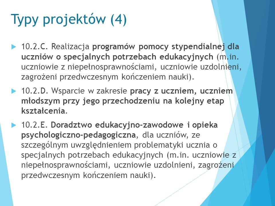 Typy projektów (4)  10.2.C. Realizacja programów pomocy stypendialnej dla uczniów o specjalnych potrzebach edukacyjnych (m.in. uczniowie z niepełnosp