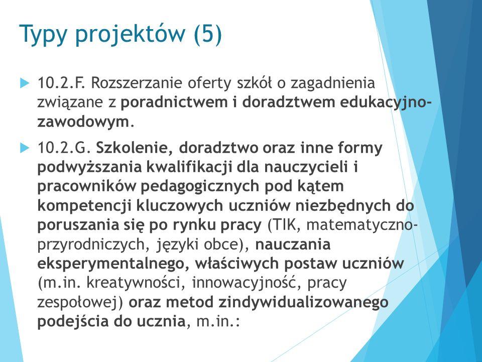 Typy projektów (5)  10.2.F. Rozszerzanie oferty szkół o zagadnienia związane z poradnictwem i doradztwem edukacyjno- zawodowym.  10.2.G. Szkolenie,