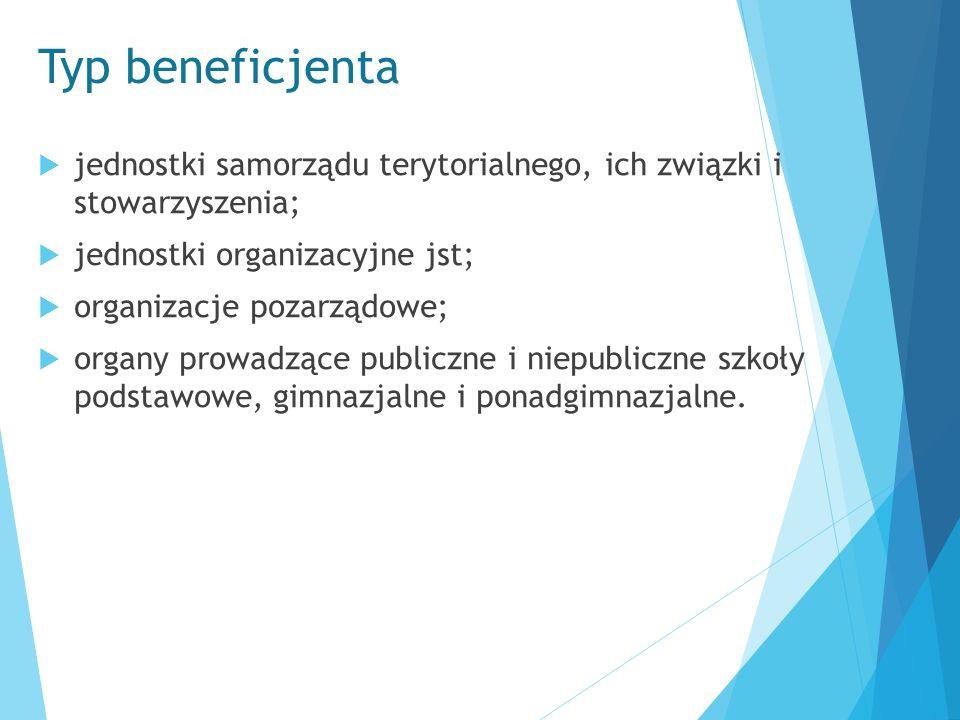 Typ beneficjenta  jednostki samorządu terytorialnego, ich związki i stowarzyszenia;  jednostki organizacyjne jst;  organizacje pozarządowe;  organ