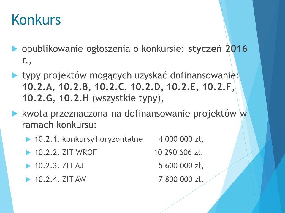 Konkurs  opublikowanie ogłoszenia o konkursie: styczeń 2016 r.,  typy projektów mogących uzyskać dofinansowanie: 10.2.A, 10.2.B, 10.2.C, 10.2.D, 10.