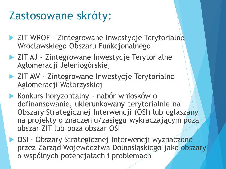 Zastosowane skróty:  ZIT WROF - Zintegrowane Inwestycje Terytorialne Wrocławskiego Obszaru Funkcjonalnego  ZIT AJ - Zintegrowane Inwestycje Terytori