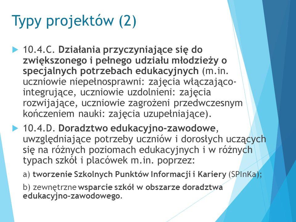 Typy projektów (2)  10.4.C. Działania przyczyniające się do zwiększonego i pełnego udziału młodzieży o specjalnych potrzebach edukacyjnych (m.in. ucz