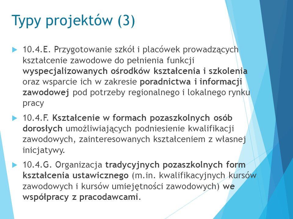 Typy projektów (3)  10.4.E. Przygotowanie szkół i placówek prowadzących kształcenie zawodowe do pełnienia funkcji wyspecjalizowanych ośrodków kształc