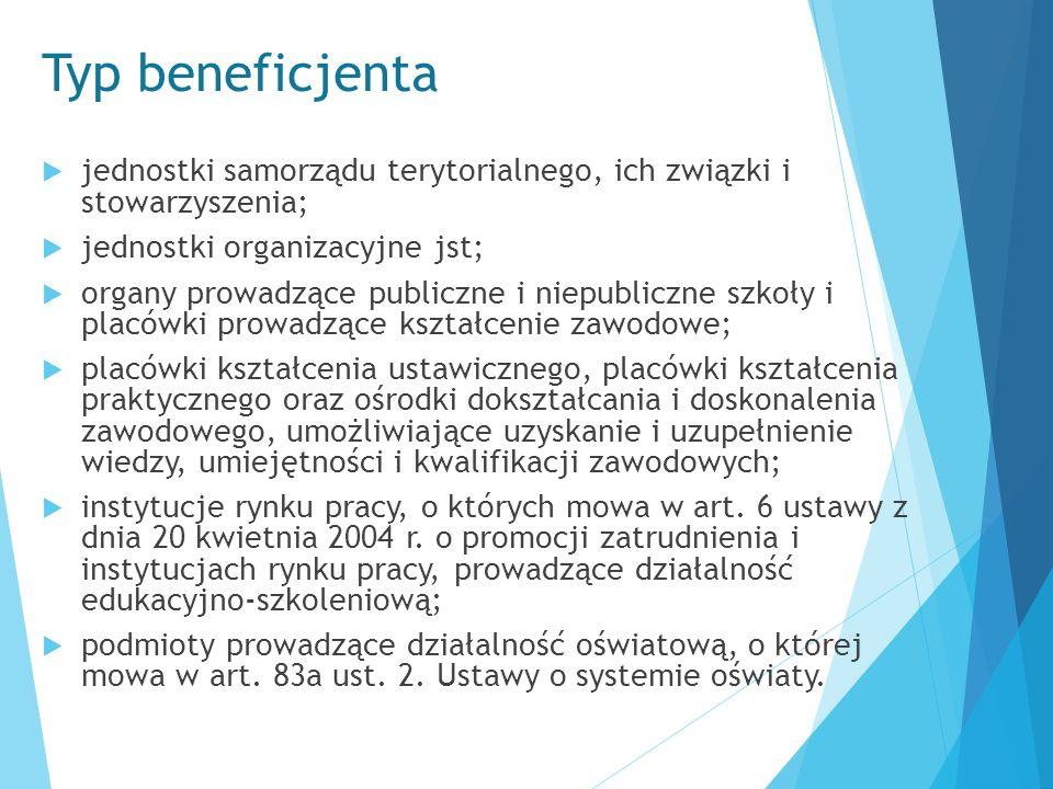 Typ beneficjenta  jednostki samorządu terytorialnego, ich związki i stowarzyszenia;  jednostki organizacyjne jst;  organy prowadzące publiczne i ni