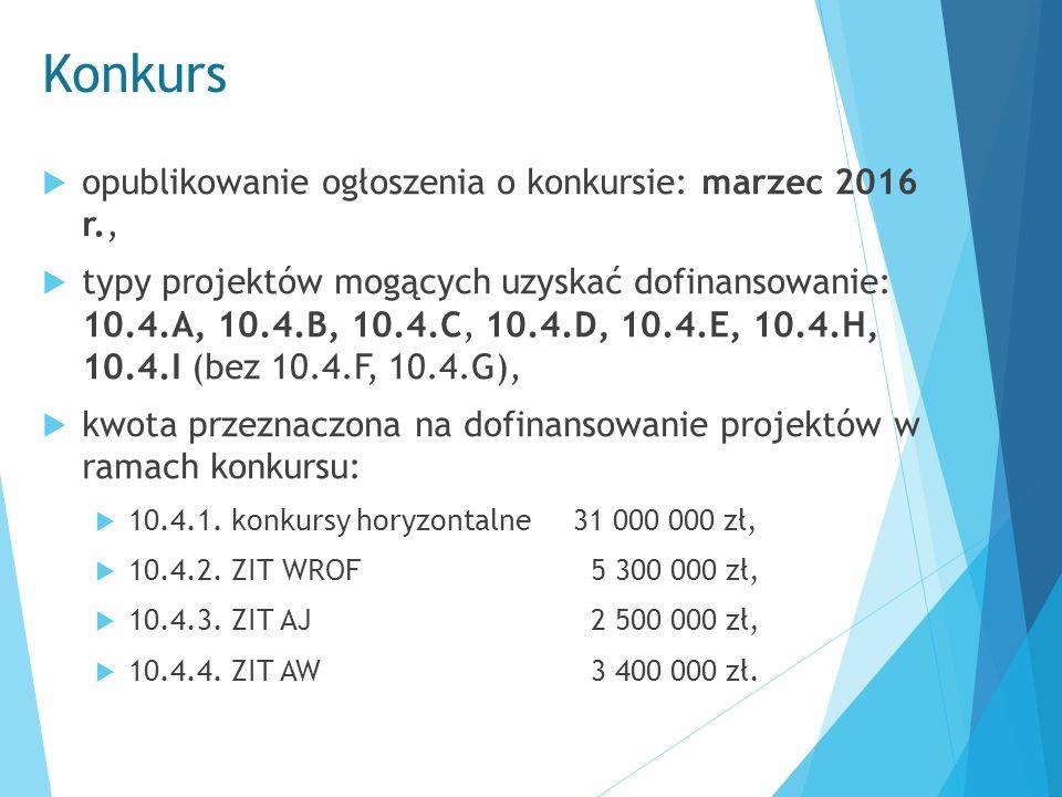 Konkurs  opublikowanie ogłoszenia o konkursie: marzec 2016 r.,  typy projektów mogących uzyskać dofinansowanie: 10.4.A, 10.4.B, 10.4.C, 10.4.D, 10.4