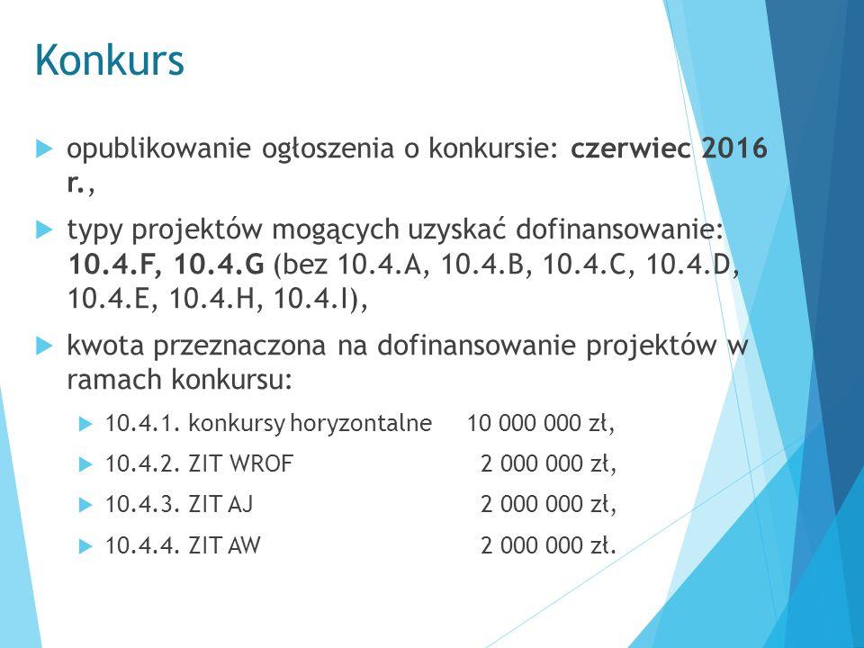 Konkurs  opublikowanie ogłoszenia o konkursie: czerwiec 2016 r.,  typy projektów mogących uzyskać dofinansowanie: 10.4.F, 10.4.G (bez 10.4.A, 10.4.B