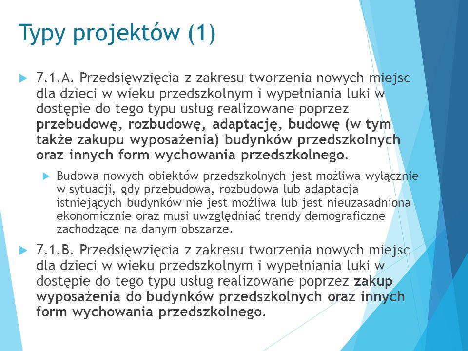 Typy projektów (1)  7.1.A. Przedsięwzięcia z zakresu tworzenia nowych miejsc dla dzieci w wieku przedszkolnym i wypełniania luki w dostępie do tego t