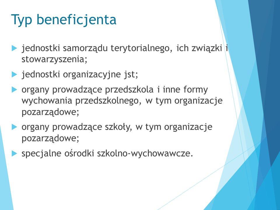 Typ beneficjenta  jednostki samorządu terytorialnego, ich związki i stowarzyszenia;  jednostki organizacyjne jst;  organy prowadzące przedszkola i