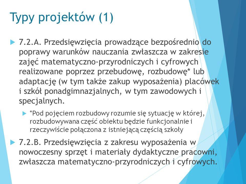 Typy projektów (1)  7.2.A. Przedsięwzięcia prowadzące bezpośrednio do poprawy warunków nauczania zwłaszcza w zakresie zajęć matematyczno-przyrodniczy