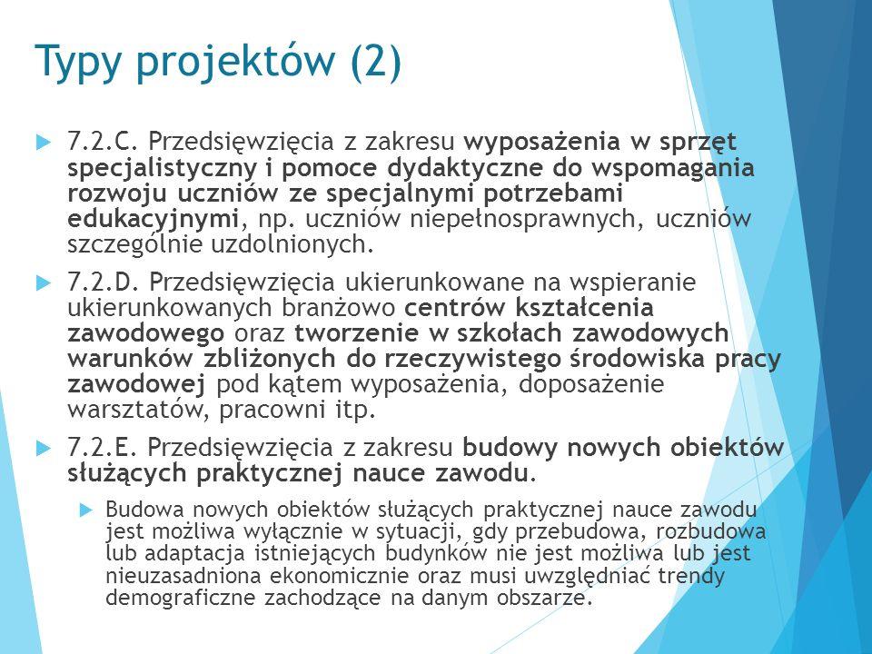 Typy projektów (2)  7.2.C. Przedsięwzięcia z zakresu wyposażenia w sprzęt specjalistyczny i pomoce dydaktyczne do wspomagania rozwoju uczniów ze spec