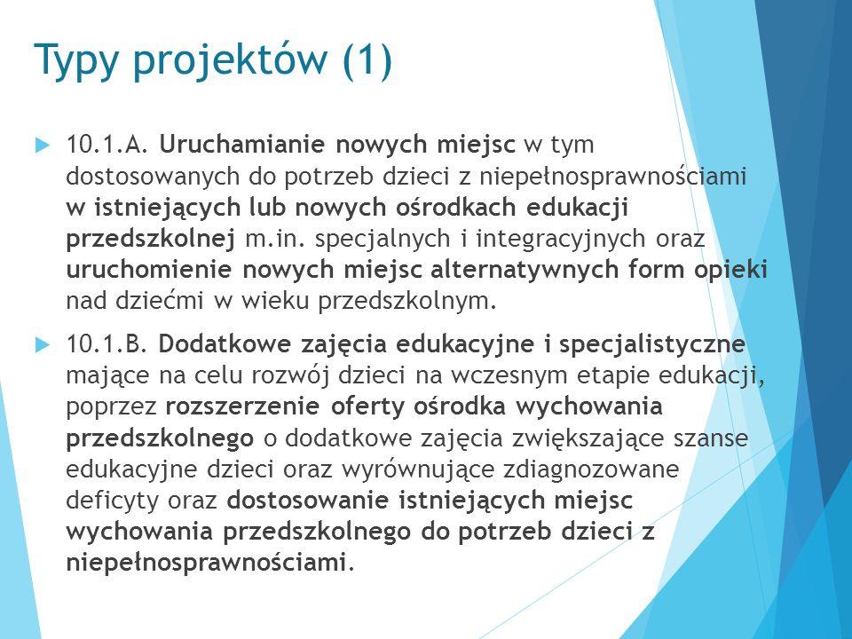 Typy projektów (2)  Wykaz dodatkowych zajęć obejmuje: a) zajęcia specjalistyczne takie jak zajęcia: korekcyjno- kompensacyjne, logopedyczne, socjoterapeutyczne, oraz inne zajęcia o charakterze terapeutycznym; b) zajęcia w ramach wczesnego wspomagania rozwoju w rozumieniu ustawy o systemie oświaty; c) zajęcia stymulujące rozwój psychoruchowy np.