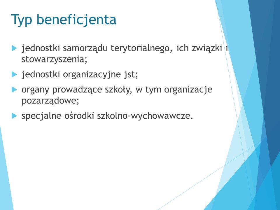 Typ beneficjenta  jednostki samorządu terytorialnego, ich związki i stowarzyszenia;  jednostki organizacyjne jst;  organy prowadzące szkoły, w tym