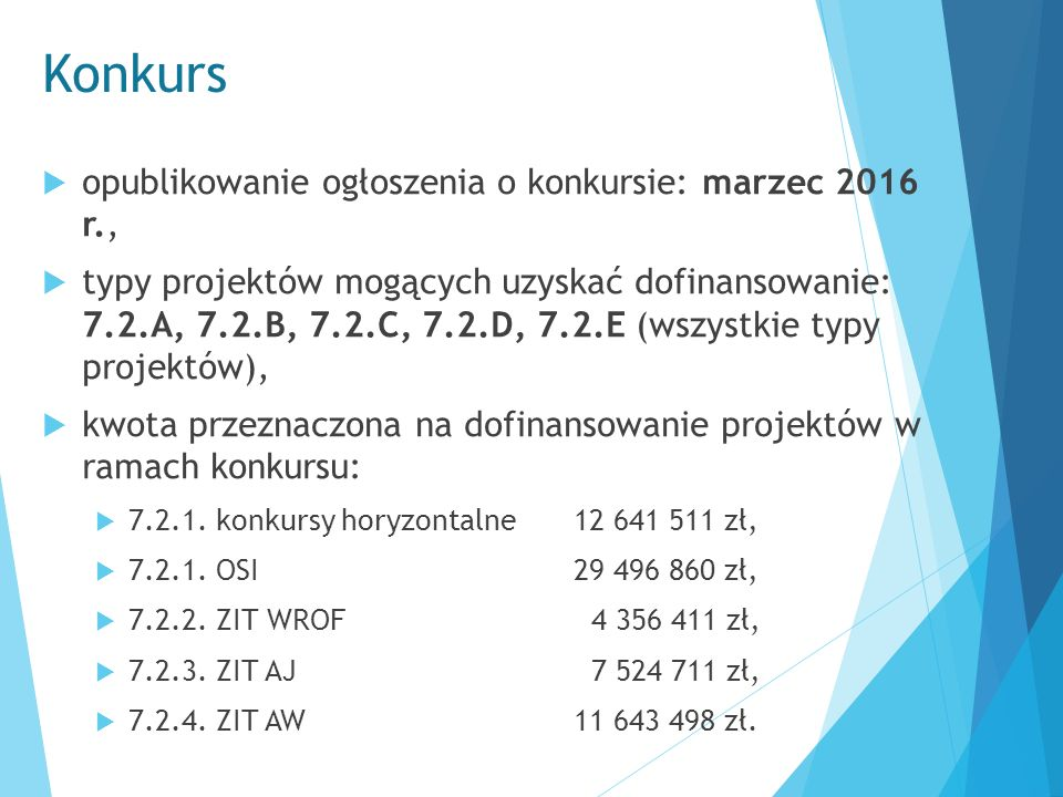 Konkurs  opublikowanie ogłoszenia o konkursie: marzec 2016 r.,  typy projektów mogących uzyskać dofinansowanie: 7.2.A, 7.2.B, 7.2.C, 7.2.D, 7.2.E (w