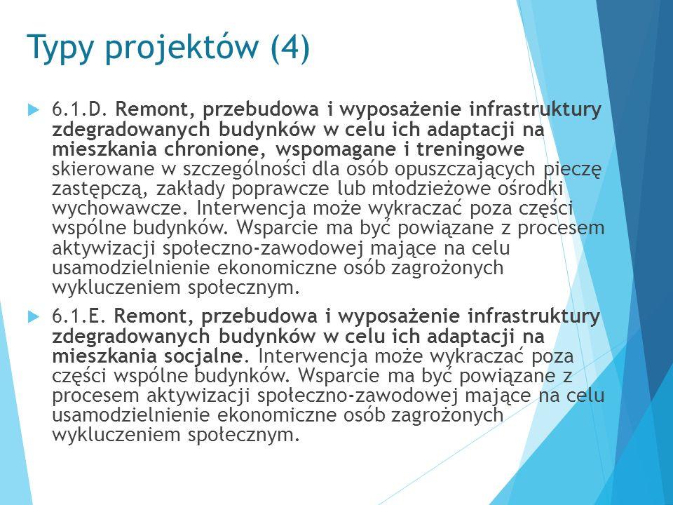 Typy projektów (4)  6.1.D. Remont, przebudowa i wyposażenie infrastruktury zdegradowanych budynków w celu ich adaptacji na mieszkania chronione, wspo