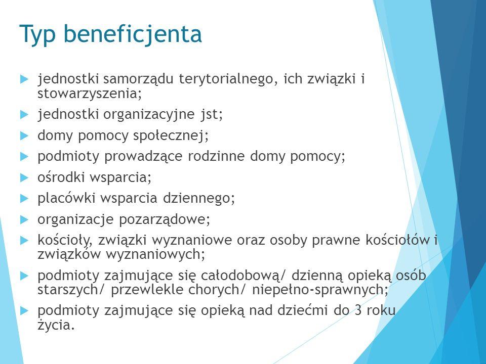Typ beneficjenta  jednostki samorządu terytorialnego, ich związki i stowarzyszenia;  jednostki organizacyjne jst;  domy pomocy społecznej;  podmio