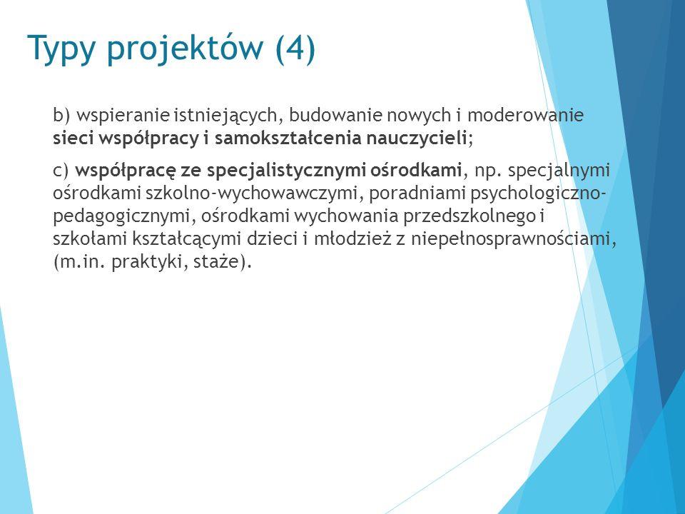Typy projektów (4) b) wspieranie istniejących, budowanie nowych i moderowanie sieci współpracy i samokształcenia nauczycieli; c) współpracę ze specjal
