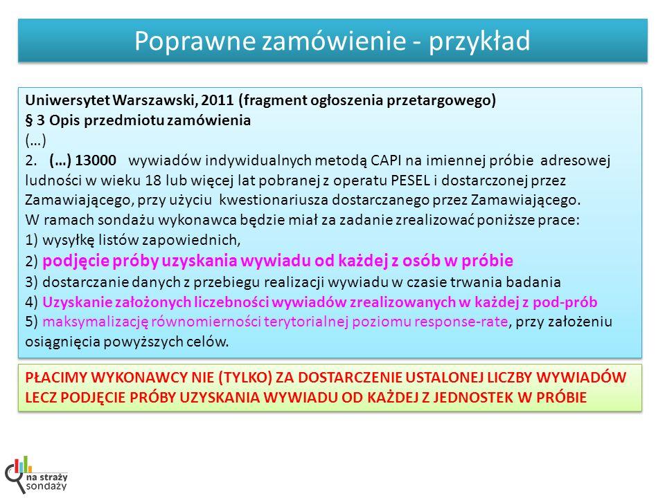 Poprawne zamówienie - przykład Uniwersytet Warszawski, 2011 (fragment ogłoszenia przetargowego) § 3 Opis przedmiotu zamówienia (…) 2. (…) 13000 wywiad
