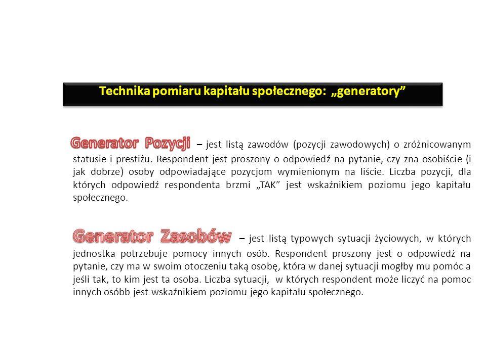 """Technika pomiaru kapitału społecznego: """"generatory"""