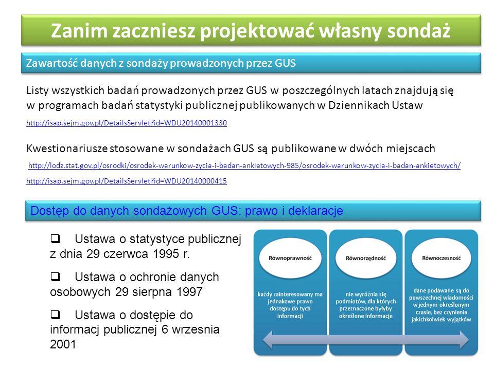 Zanim zaczniesz projektować własny sondaż Zawartość danych z sondaży prowadzonych przez GUS http://isap.sejm.gov.pl/DetailsServlet?id=WDU20140001330 Listy wszystkich badań prowadzonych przez GUS w poszczególnych latach znajdują się w programach badań statystyki publicznej publikowanych w Dziennikach Ustaw Kwestionariusze stosowane w sondażach GUS są publikowane w dwóch miejscach http://lodz.stat.gov.pl/osrodki/osrodek-warunkow-zycia-i-badan-ankietowych-985/osrodek-warunkow-zycia-i-badan-ankietowych/ http://isap.sejm.gov.pl/DetailsServlet?id=WDU20140000415 Dostęp do danych sondażowych GUS: prawo i deklaracje  Ustawa o statystyce publicznej z dnia 29 czerwca 1995 r.