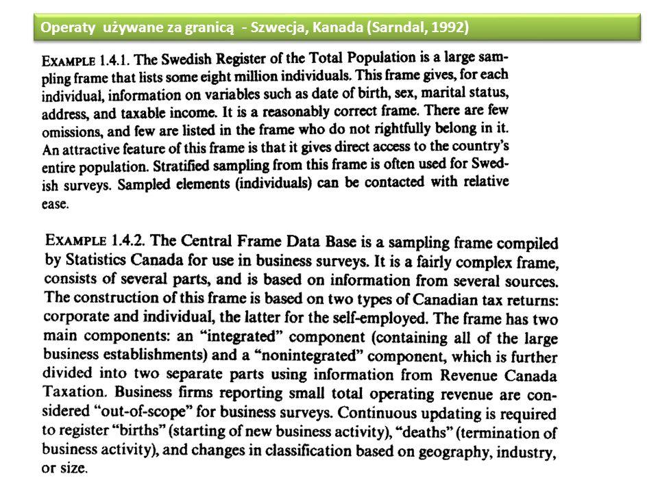 Operaty używane za granicą - Szwecja, Kanada (Sarndal, 1992)