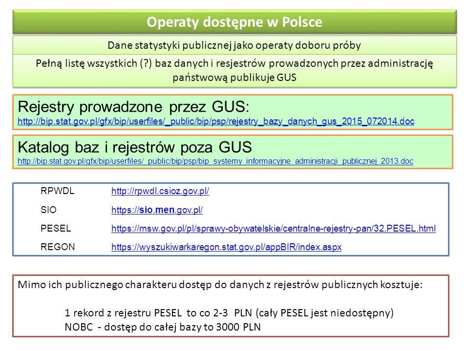 Operaty dostępne w Polsce Dane statystyki publicznej jako operaty doboru próby Pełną listę wszystkich (?) baz danych i resjestrów prowadzonych przez administrację państwową publikuje GUS Rejestry prowadzone przez GUS: http://bip.stat.gov.pl/gfx/bip/userfiles/_public/bip/psp/rejestry_bazy_danych_gus_2015_072014.doc http://bip.stat.gov.pl/gfx/bip/userfiles/_public/bip/psp/rejestry_bazy_danych_gus_2015_072014.doc Katalog baz i rejestrów poza GUS http://bip.stat.gov.pl/gfx/bip/userfiles/_public/bip/psp/bip_systemy_informacyjne_administracji_publicznej_2013.doc http://bip.stat.gov.pl/gfx/bip/userfiles/_public/bip/psp/bip_systemy_informacyjne_administracji_publicznej_2013.doc Mimo ich publicznego charakteru dostęp do danych z rejestrów publicznych kosztuje: 1 rekord z rejestru PESEL to co 2-3 PLN (cały PESEL jest niedostępny) NOBC - dostęp do całej bazy to 3000 PLN RPWDLhttp://rpwdl.csioz.gov.pl/http://rpwdl.csioz.gov.pl/ SIOhttps://sio.men.gov.pl/https://sio.men.gov.pl/ PESELhttps://msw.gov.pl/pl/sprawy-obywatelskie/centralne-rejestry-pan/32,PESEL.htmlhttps://msw.gov.pl/pl/sprawy-obywatelskie/centralne-rejestry-pan/32,PESEL.html REGONhttps://wyszukiwarkaregon.stat.gov.pl/appBIR/index.aspxhttps://wyszukiwarkaregon.stat.gov.pl/appBIR/index.aspx