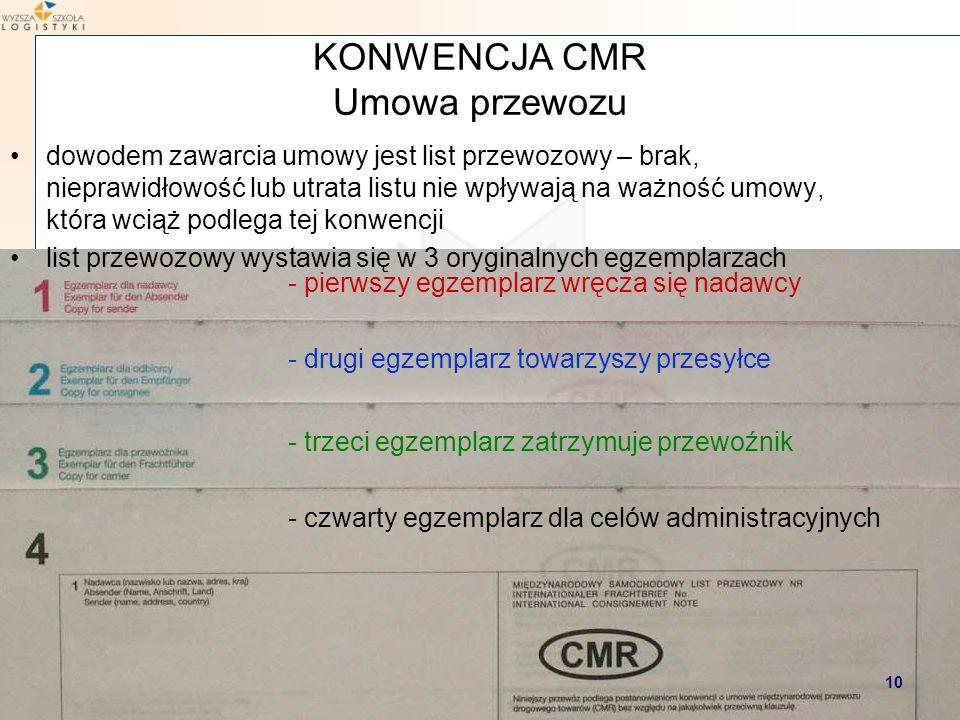 Marcin Hajdul / Transport i spedycja 2 WYŻSZA SZKOŁA LOGISTYKI dowodem zawarcia umowy jest list przewozowy – brak, nieprawidłowość lub utrata listu ni