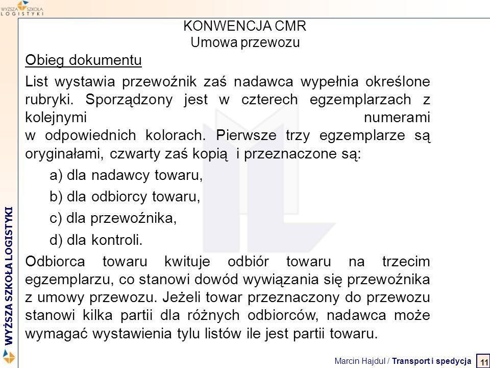 Marcin Hajdul / Transport i spedycja 2 WYŻSZA SZKOŁA LOGISTYKI KONWENCJA CMR Umowa przewozu Obieg dokumentu List wystawia przewoźnik zaś nadawca wypeł
