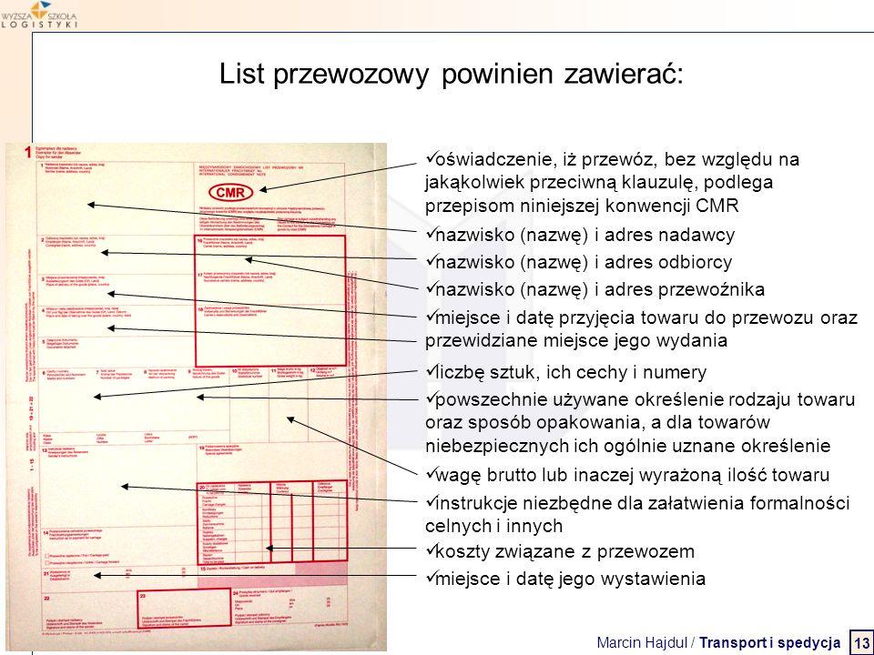 Marcin Hajdul / Transport i spedycja 2 WYŻSZA SZKOŁA LOGISTYKI List przewozowy powinien zawierać: nazwisko (nazwę) i adres nadawcy nazwisko (nazwę) i