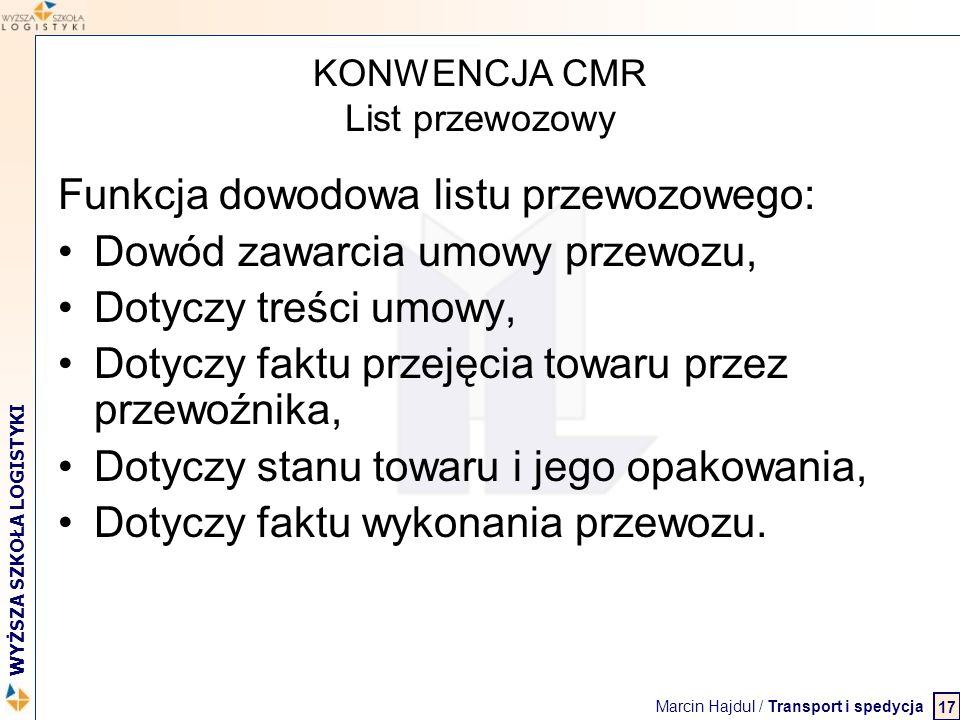 Marcin Hajdul / Transport i spedycja 2 WYŻSZA SZKOŁA LOGISTYKI KONWENCJA CMR List przewozowy Funkcja dowodowa listu przewozowego: Dowód zawarcia umowy