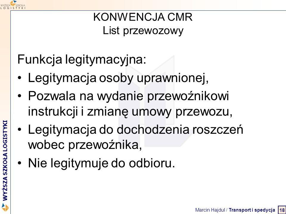 Marcin Hajdul / Transport i spedycja 2 WYŻSZA SZKOŁA LOGISTYKI KONWENCJA CMR List przewozowy Funkcja legitymacyjna: Legitymacja osoby uprawnionej, Poz