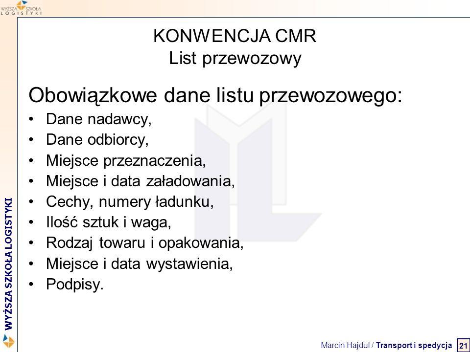 Marcin Hajdul / Transport i spedycja 2 WYŻSZA SZKOŁA LOGISTYKI KONWENCJA CMR List przewozowy Obowiązkowe dane listu przewozowego: Dane nadawcy, Dane o