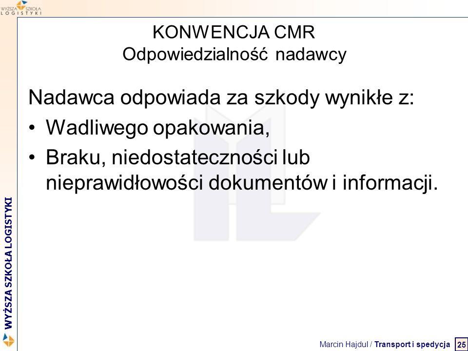 Marcin Hajdul / Transport i spedycja 2 WYŻSZA SZKOŁA LOGISTYKI KONWENCJA CMR Odpowiedzialność nadawcy Nadawca odpowiada za szkody wynikłe z: Wadliwego