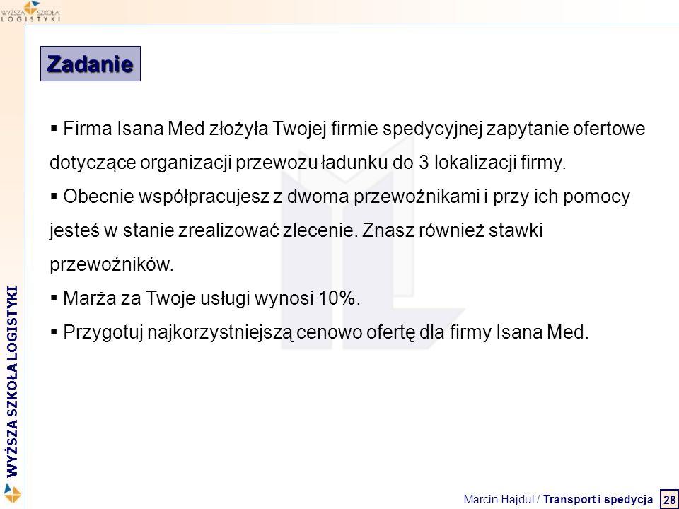 Marcin Hajdul / Transport i spedycja 2 WYŻSZA SZKOŁA LOGISTYKI 28 Zadanie  Firma Isana Med złożyła Twojej firmie spedycyjnej zapytanie ofertowe dotyc