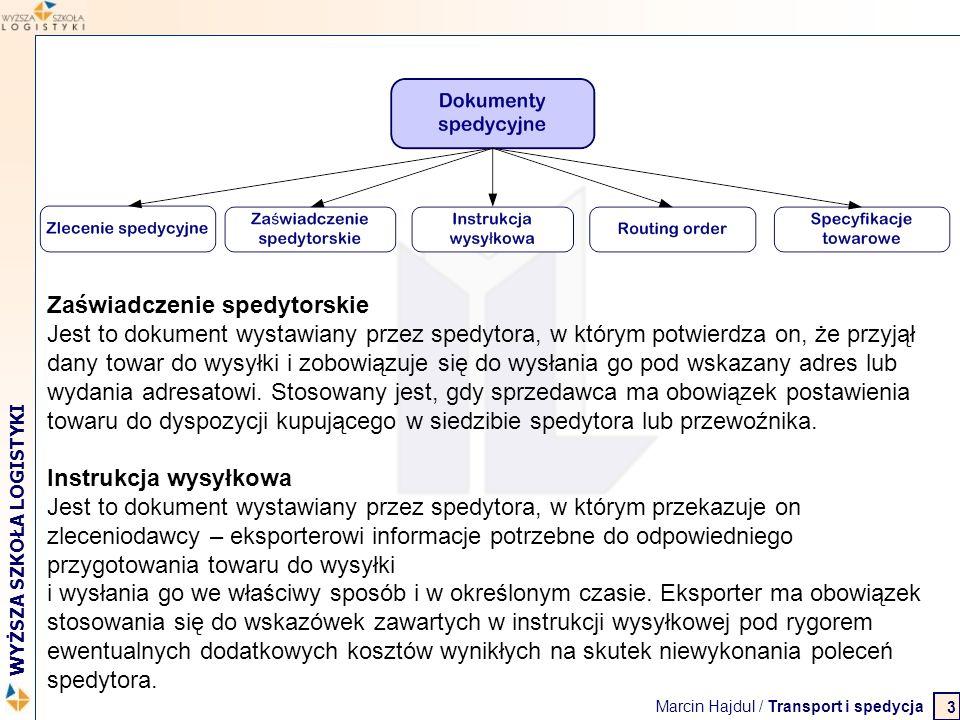 Marcin Hajdul / Transport i spedycja 2 WYŻSZA SZKOŁA LOGISTYKI W razie potrzeby list przewozowy powinien zawierać: wykaz dokumentów wręczonych przewoźnikowi zakaz przeładunku instrukcje nadawcy dla przewoźnika dotyczące ubezpieczenia przesyłki zadeklarowaną wartość towaru i sumę przedstawiającą interes specjalny w jego dostawie koszty, jakie nadawca przyjmuje na siebie kwotę zaliczenia do pobrania przy wydaniu towaru do listu przewozowego mogą być wniesione wszelkie dane, jakie strony uznają za potrzebne 14