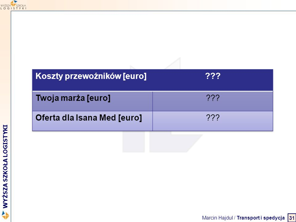 Marcin Hajdul / Transport i spedycja 2 WYŻSZA SZKOŁA LOGISTYKI 31