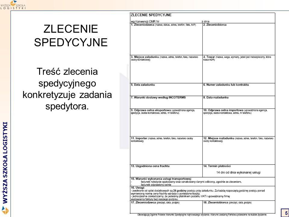 Marcin Hajdul / Transport i spedycja 2 WYŻSZA SZKOŁA LOGISTYKI 6 ZLECENIE SPEDYCYJNE Obowiązek zleceniodawcy: Złożyć zlecenie spedycyjne z odpowiednim wyprzedzeniem, Dostarczyć wszelkie informacje i dokumenty związane ze zleconą usługą.