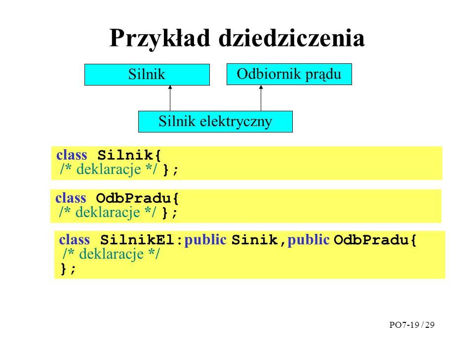 Przykład dziedziczenia Silnik Odbiornik prądu Silnik elektryczny class Silnik{ /* deklaracje */ }; class OdbPradu{ /* deklaracje */ }; class SilnikEl: public Sinik, public OdbPradu{ /* deklaracje */ }; PO7-19 / 29
