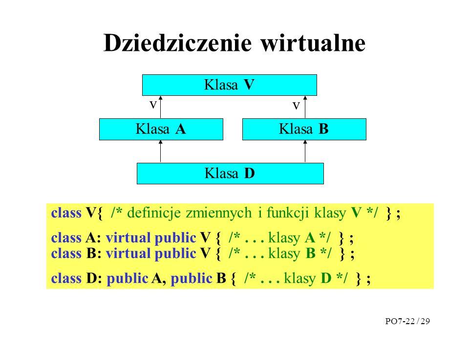 Dziedziczenie wirtualne Klasa V Klasa AKlasa B v Klasa D class V{ /* definicje zmiennych i funkcji klasy V */ } ; class A: virtual public V { /*...