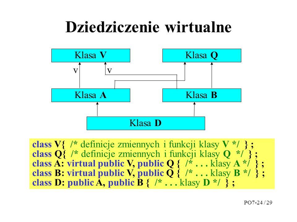 Dziedziczenie wirtualne Klasa V Klasa A Klasa Q Klasa B vv Klasa D class V{ /* definicje zmiennych i funkcji klasy V */ } ; class Q{ /* definicje zmiennych i funkcji klasy Q */ } ; class A: virtual public V, public Q { /*...