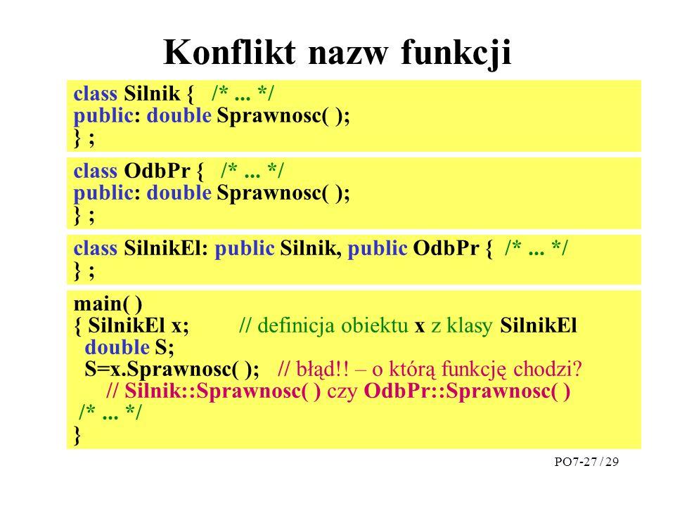 Konflikt nazw funkcji class Silnik { /*...