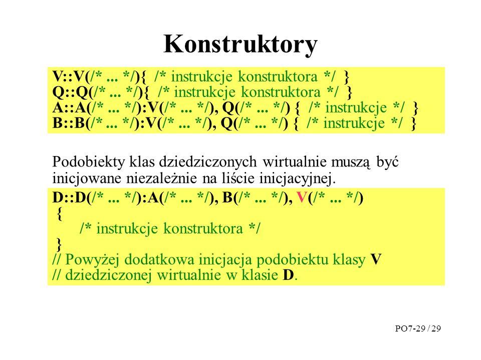 Konstruktory V::V(/*...*/){ /* instrukcje konstruktora */ } Q::Q(/*...
